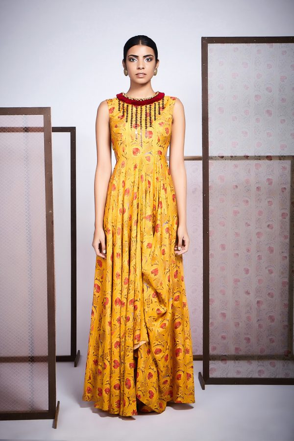 Yellow Floral Print Cold Dress