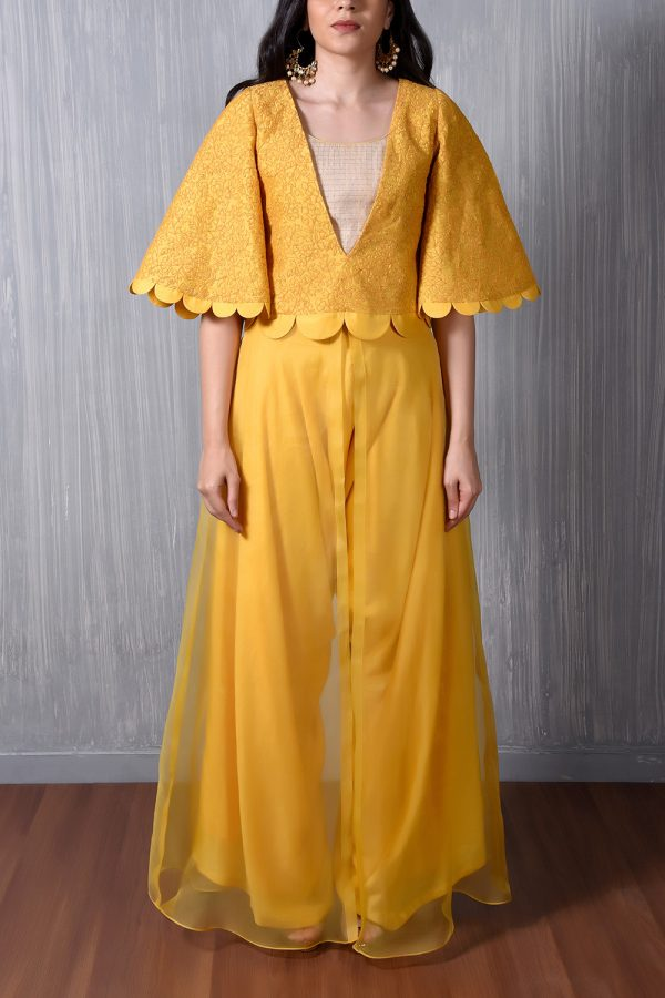 Yellow Self Thread Embroidered Scallop Cape