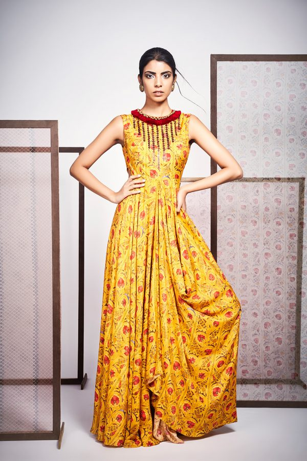 Yellow Floral Print Cowl Dress