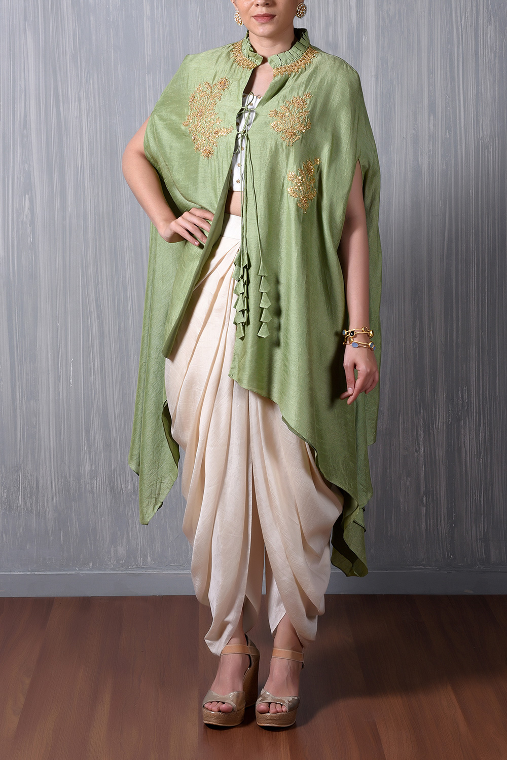 Mint Green Cape With Marodi Embroidery Motifs