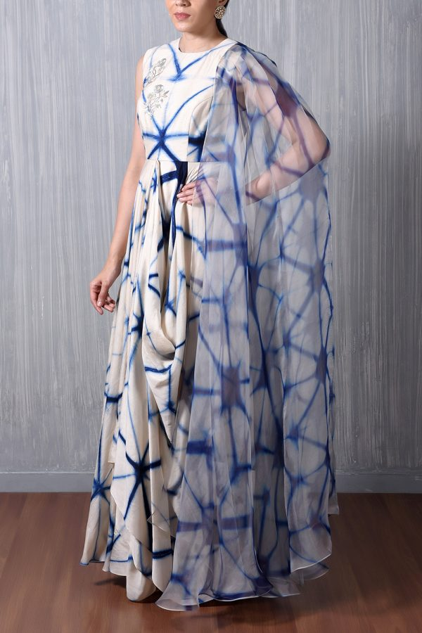 Blue Shibori Cowl Dress With Attached Organza Cape
