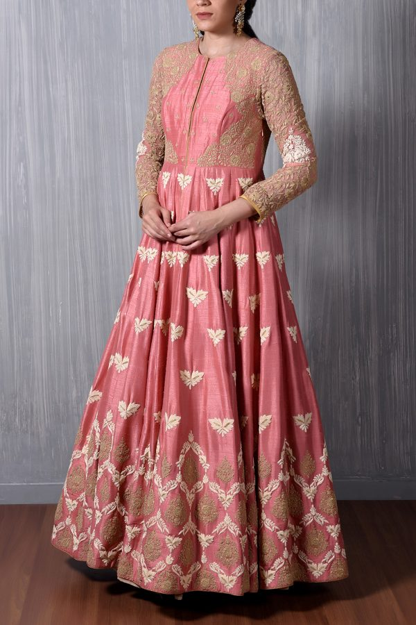 Beige/Pink Emb 2 Layer Anarkali Gown
