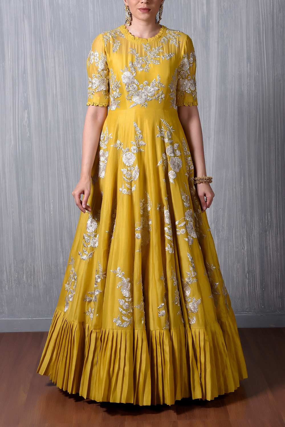 Yellow Silver Emb Pleated Floor Length Gown