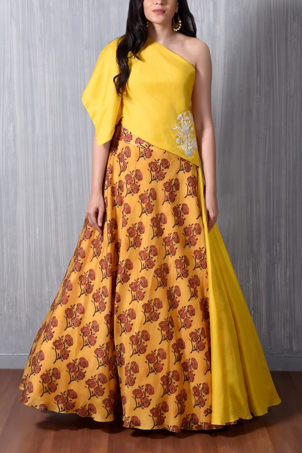 Yellow One Shoulder Pearl And Thread Motif Embroidered Cape