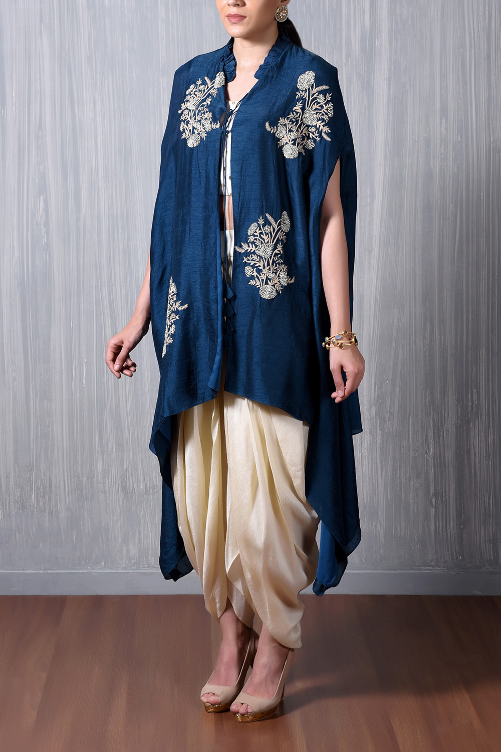 Blue Cape With Pearl And Thread Embroidery Motifs