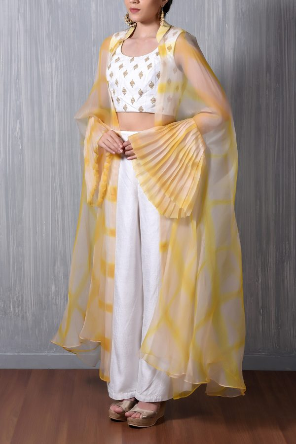 Yellow Shibori Organza Cape+White Gold Emb Crop Top