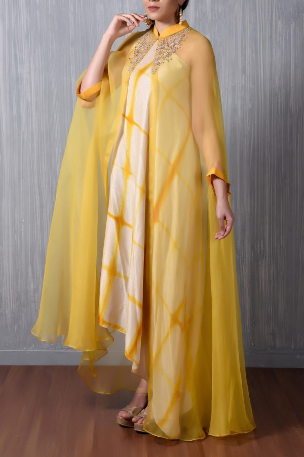 Yellow One Shoulder Asymetric Shibori Dress+Marodi Emb Organza Cape